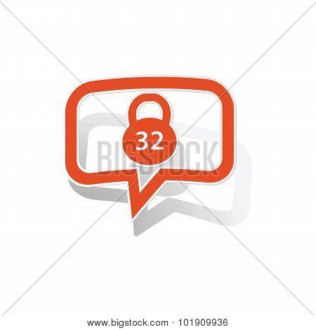 Kettlebell message sticker, orange