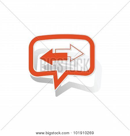 Opposite message sticker, orange chat bubble with image inside, on white background poster