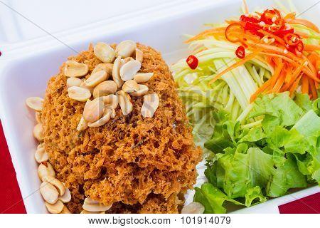 Crispy Catfish Salad In Styrofoam Box By Thailand Street Food Vender