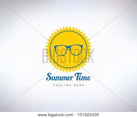 Sun, summer and holiday. Abstract vector logo element. Stock illustration for design