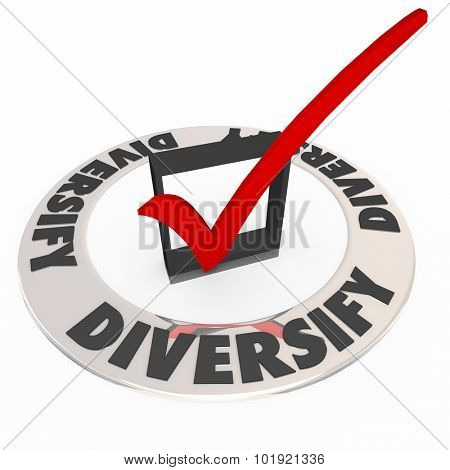 Diversity check mark in box to illustrate spreading investment portfolio to a broad mix of stocks or savings options