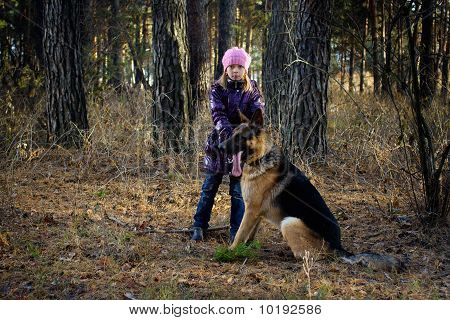 The Girl With A Dog In A Wood