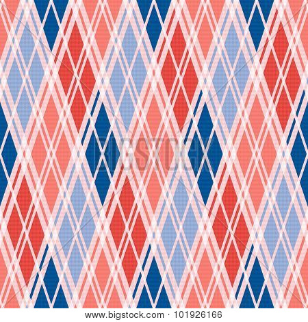 Rhombic Seamless Pattern In Red An Blue Trendy Hues