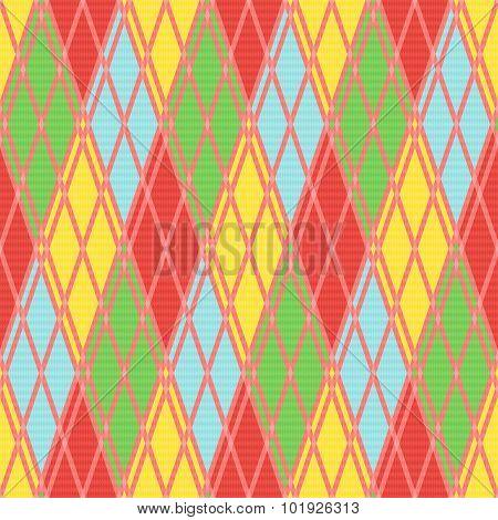 Rhombic Seamless Pattern In Various Motley Colors