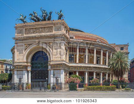 Politeama Garibaldi Theater In Palermo, Sicily.