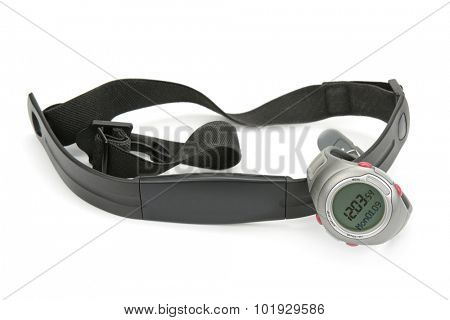 watch and chest strap of heart rate monitor on white