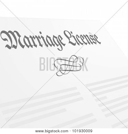 detailed illustration of a Marriage License letter, eps10 vector
