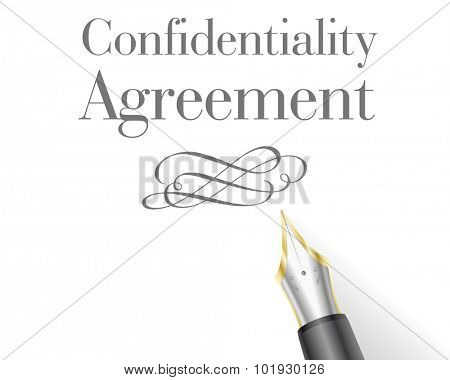 illustration of a Confidentiality Agreement Letter with fountain pen