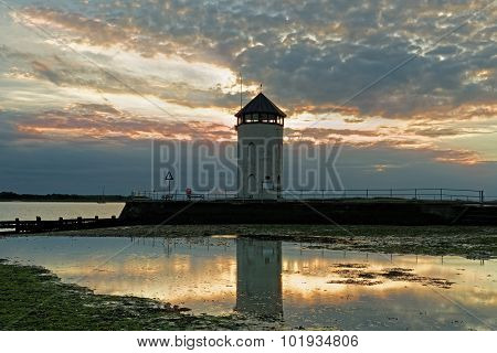 Coastal Lookout Tower At Sunset.