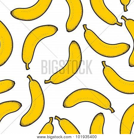 Seamless pattern with bright scattered doodle bananas. Retro