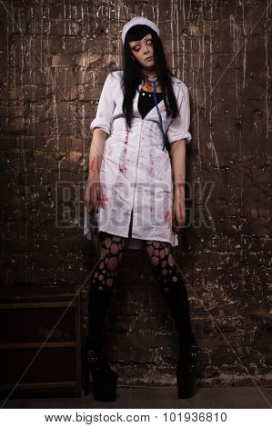 Crazy Dead Nurse With Knife In The Hand