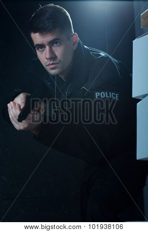 Young Man Working As Policeman