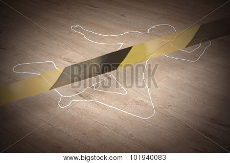 Crime scene with the silhouette of the victim circle poster