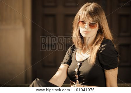 Fashion Woman In Sunglasses On Street