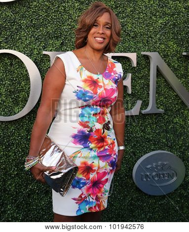 CBS anchor Gail King attends US Open 2015 tennis match between Serena and Venus Williams