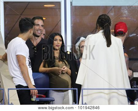Kim Kardashian attends US Open 2015 tennis match between Serena and Venus Williams