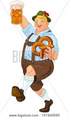 Illustration of Oktoberfest guy celebrating