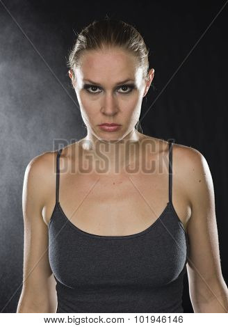 Close up Athletic Woman Looking Fierce at Camera