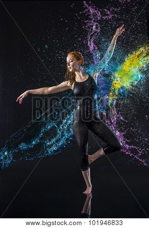 Female Dancer Being Splashed with Colorful Water