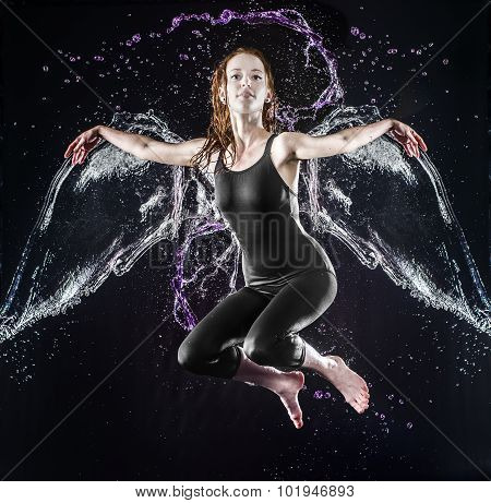 Floating Winged Young Woman in Water Splashes