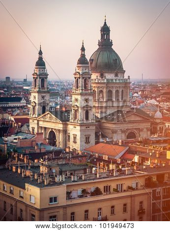 evening view on Cupola of Basilica of saint Istvan in Budapest