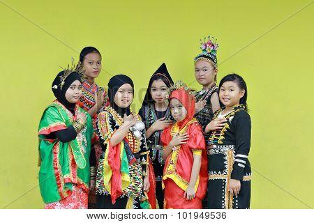 Multi ethnic girls of Borneo