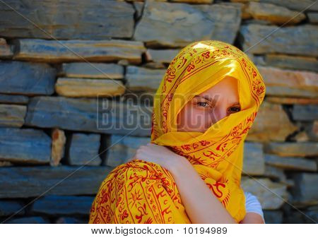 Young Woman With Yellow Veil