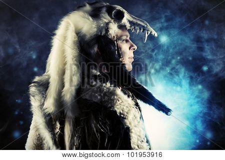 Ancient warrior Barbarian. Ethnic costume. Paganism, ritual.