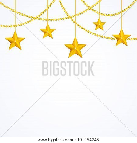 Card template with hanging yellow gold stars