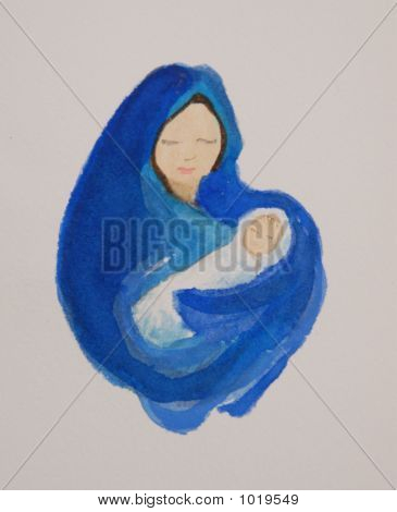 watercolor painting of mary and baby jesus on white background