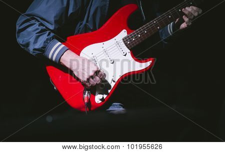 hands of guitarist,some noise