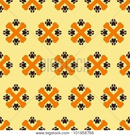 Pattern With Crossed Bones And Paw Prints