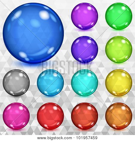 Set Of Multicolored Transparent Spheres