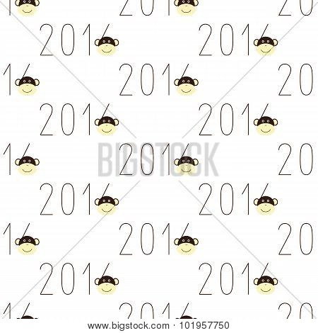 Pattern With 2016 Numbers And Monkey Face