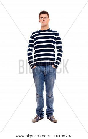 Young Man Standing Firmly With Hands In Pockets