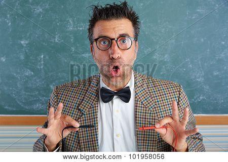 Nerd electronics technician retro teacher silly expression working tester pins