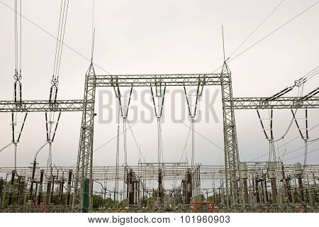 Transformer station and the high voltage electric pole poster