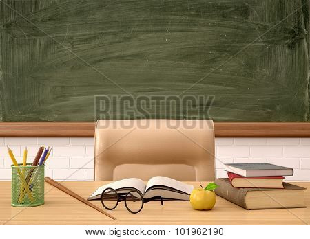 3D Illustration Of The Teacher's Desk In Front Of A Green Board