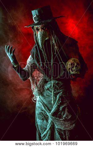 Terrible plague doctor. Medieval Europe. Halloween.