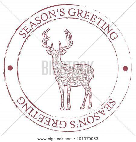 Season's Greeting Stamp With Deer