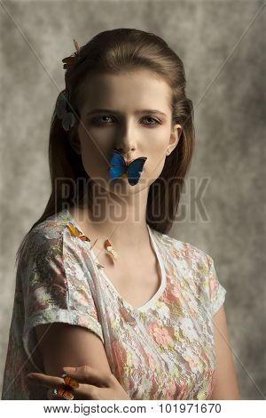 Woman With Colorful Butterflies
