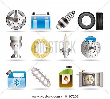 Realistic Car Parts and Services icons