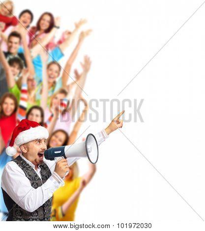 Santa man talking in loud-hailer and group of happy people.