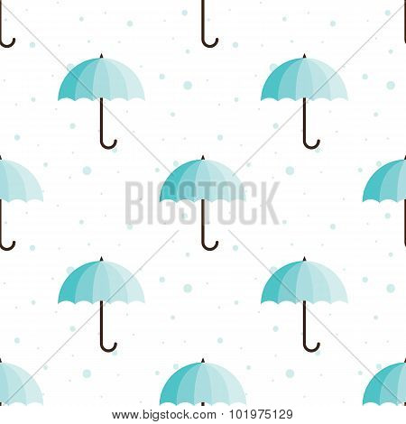 Vector vintage umbrellas seamless pattern. Cute blue umbrella background