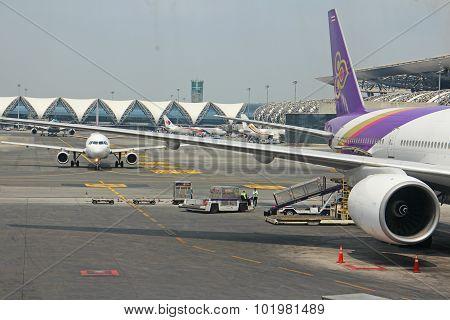 An aircraft parking at Suvarnabhumi Airport