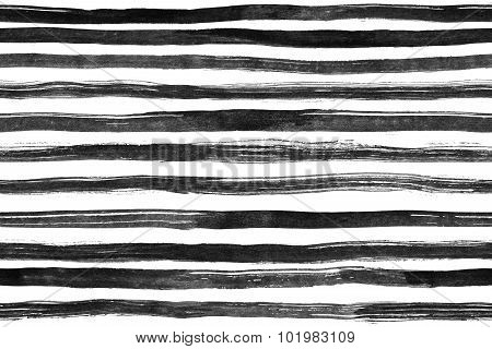 Black White ink abstract horizontal stripes seamless  background. Hand drawn lines. Ink illustration