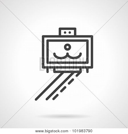 Monopod with smile photo line vector icon