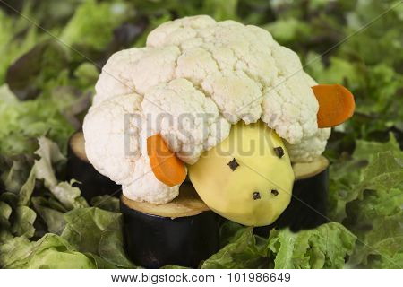 sheep and vegetables