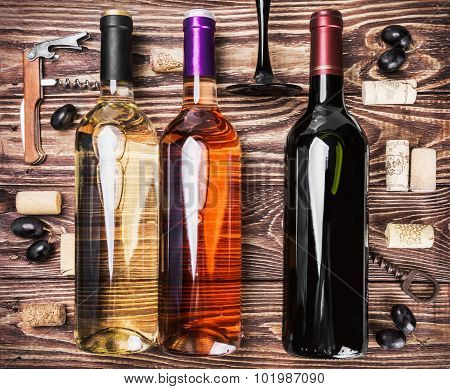Bottles Of Wine And Various Accessories