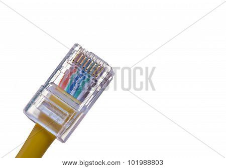 RJ-45 jack fitted on cat5e utp cable